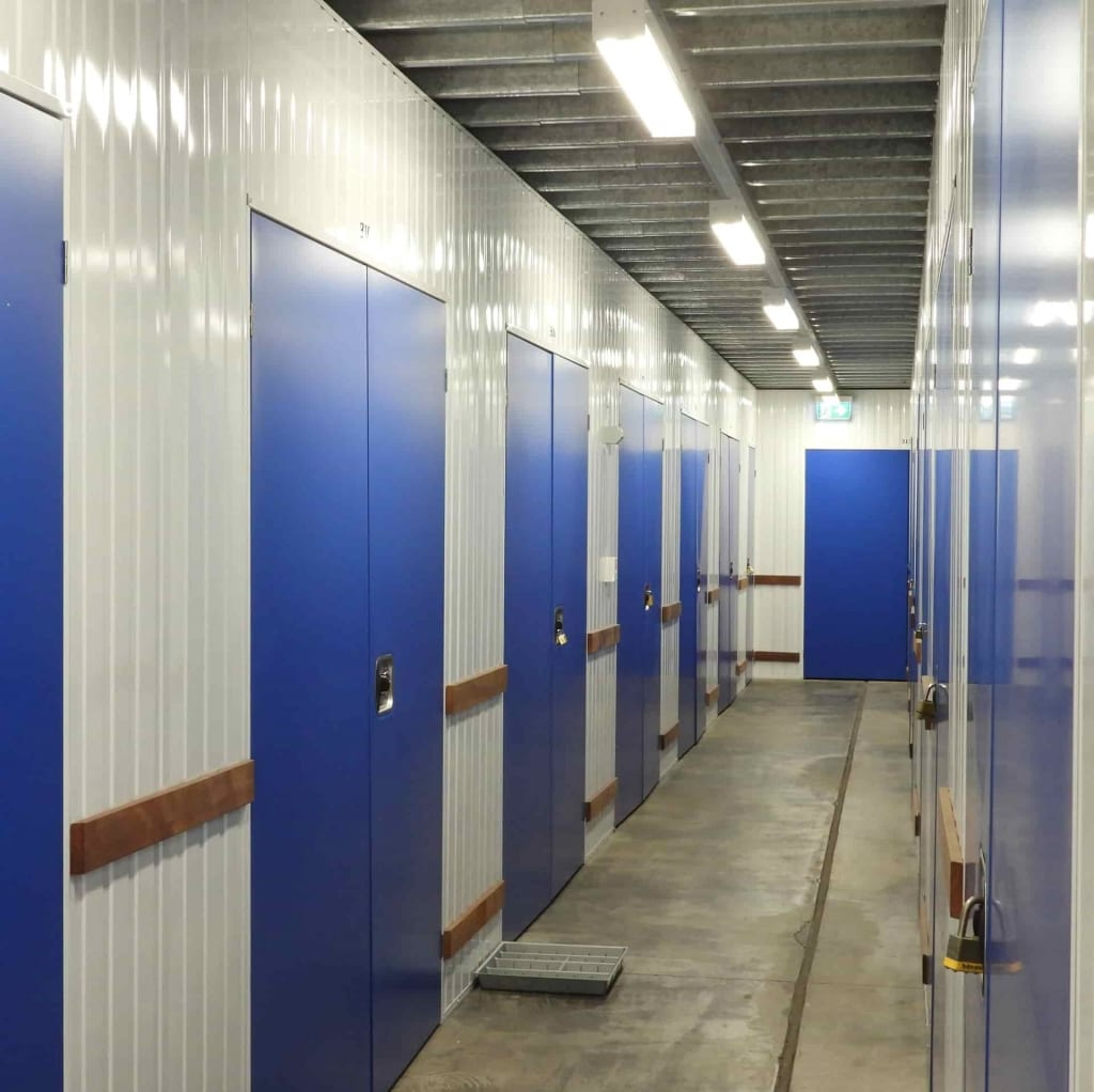 Blue internal lockers at Zillmere self storage